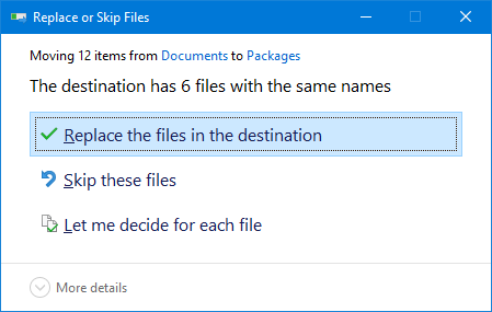 Replace the files in the destination.