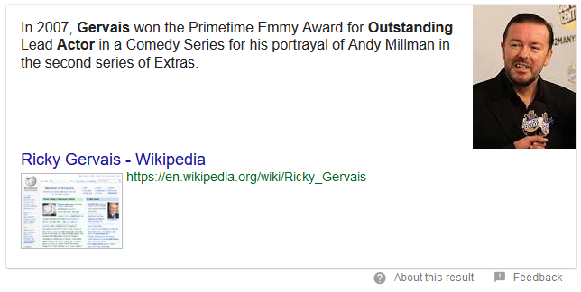 Google search result about Ricky Gervais