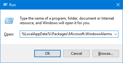 Paste the application path in the Run window.