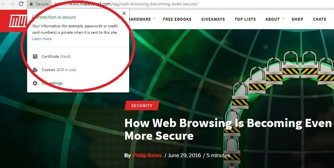 Secure connection notice in Google Chrome