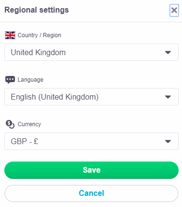 skyscanner currency selection window