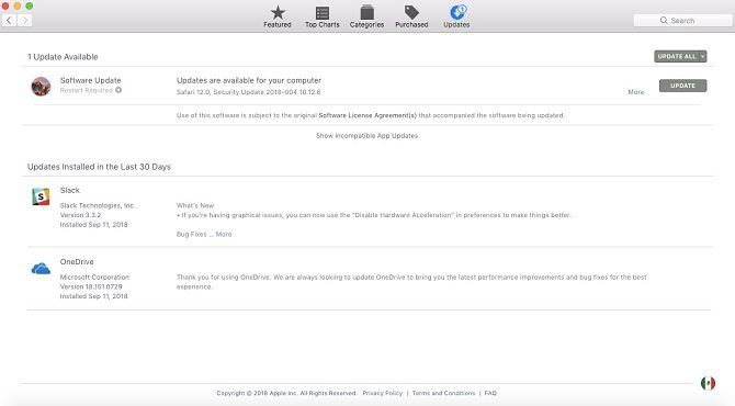 mac app store updates screen