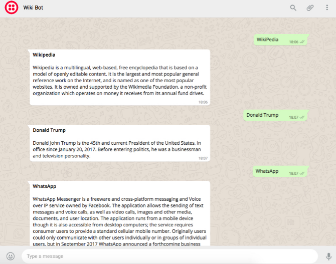 WikiBot looks up Wikipedia defnitions on Whatsapp