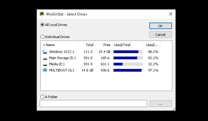 Low Storage on Windows 10? 5 Tips to Help Reclaim Your Disk Space windirstat drive selection