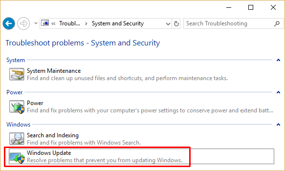 windows 10 control panel windows update troubleshooter
