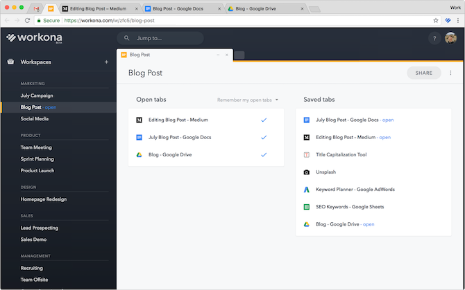 Workona Google Chrome Demo
