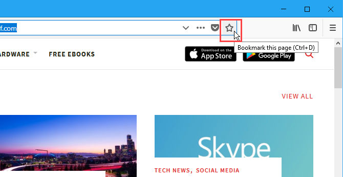 The Bookmark this page star on the address bar in Firefox