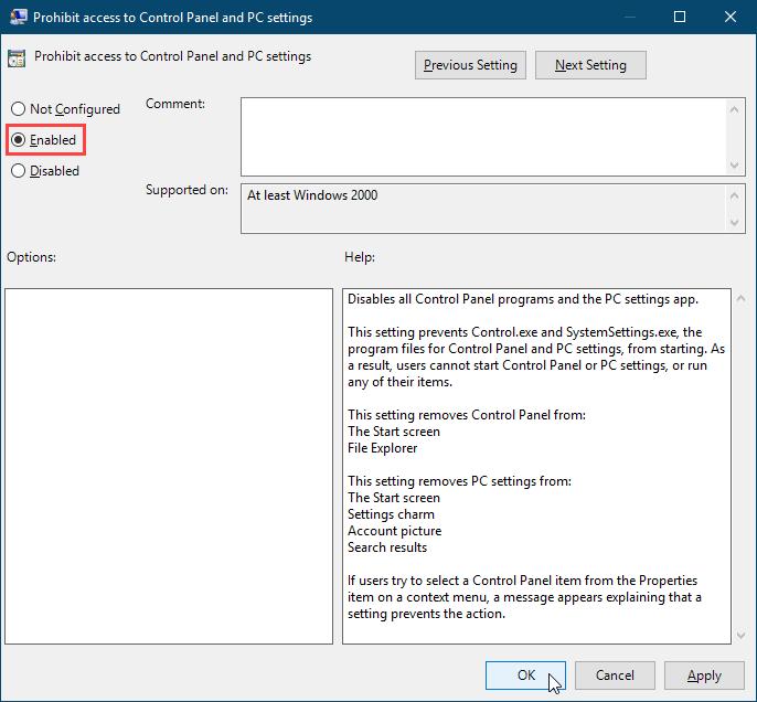 Включите параметр Запретить доступ к настройкам панели управления и ПК в редакторе локальной групповой политики в Windows 10