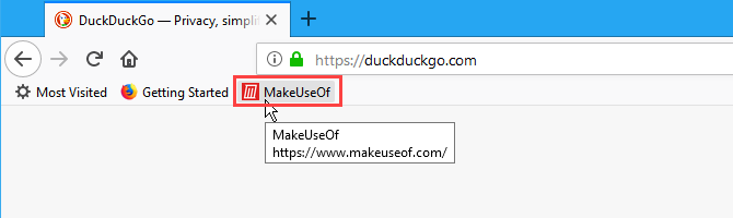 A bookmark on the Bookmarks bar in Firefox