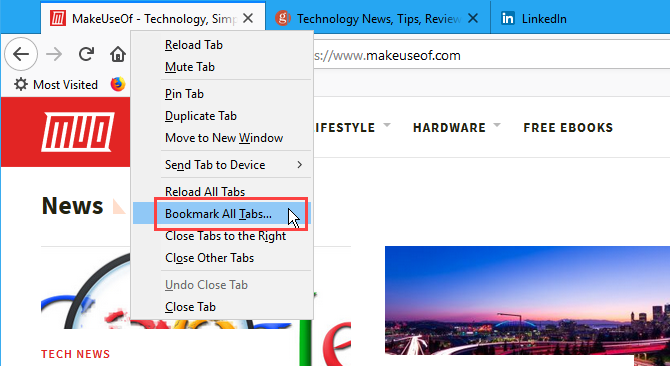 Bookmark all tabs in Firefox