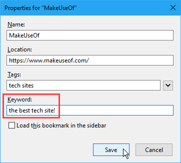Use the Keyword field to add a note to a bookmark in Firefox
