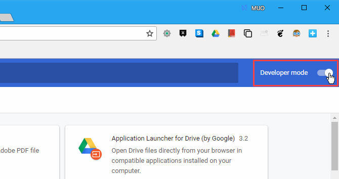 Enable the Developer mode on the Extensions page in Chrome