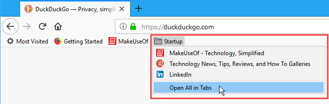 Open all Bookmarks in tabs in Firefox