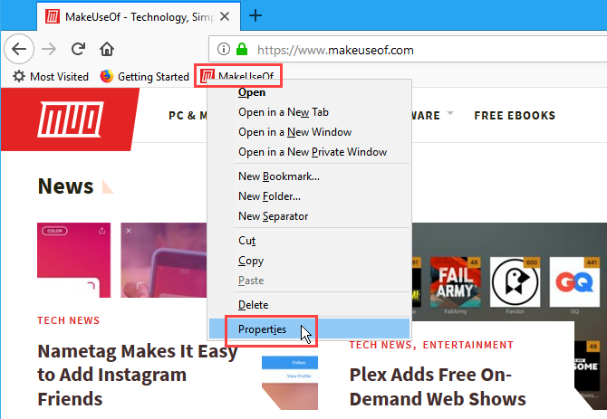 Get the Properties of a bookmark in Firefox