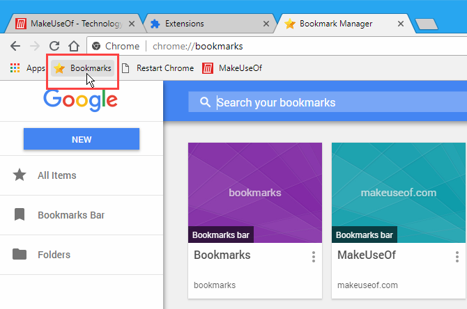 Bookmarks button added to Bookmarks bar in Chrome
