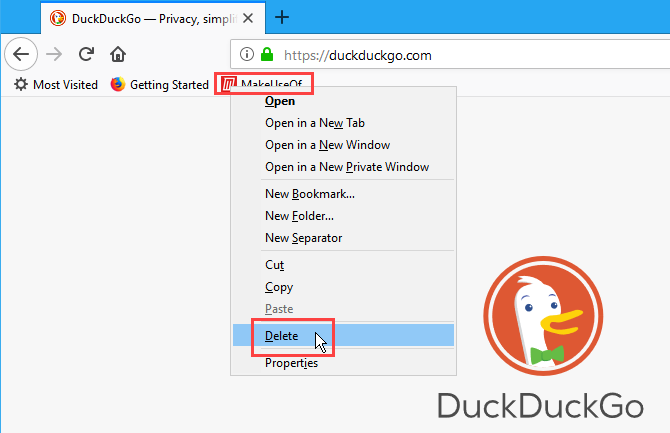 Right-click on a bookmark in Firefox and select Delete