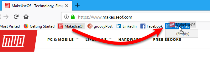 Drag a bookmark into a folder on the Bookmarks bar in Firefox