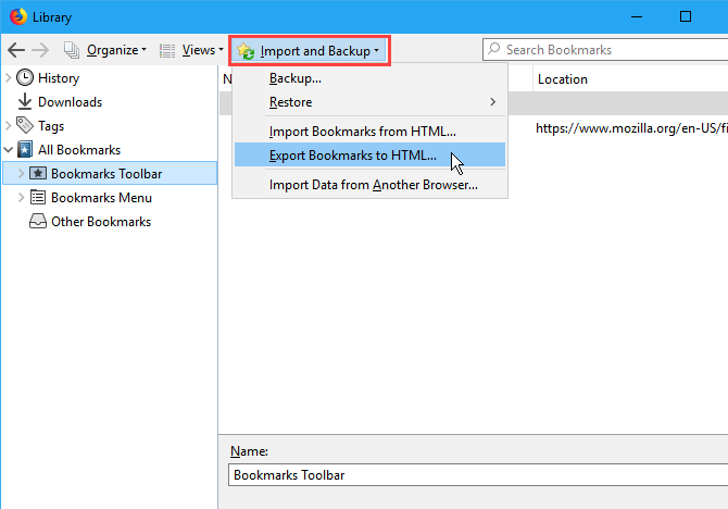Import and backup bookmarks in Firefox