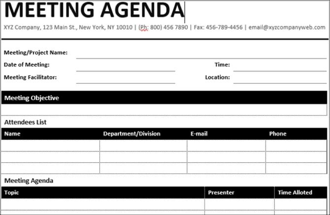 15 free meeting agenda templates for microsoft word