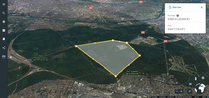 Measure Distance on Google Earth Aerial View