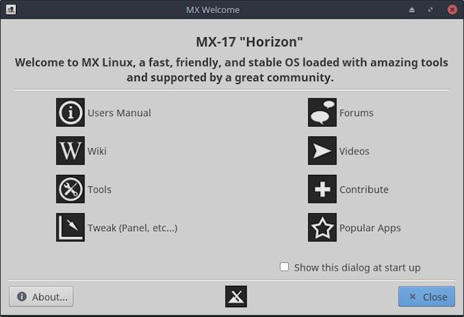 mx linux welcome screen