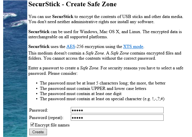 create an encrypted and password protected safe zone on your flash drive