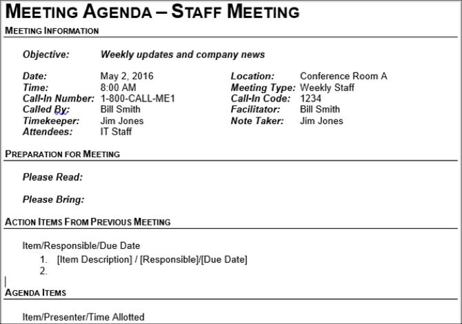 The 15 best meeting agenda templates for microsoft word staff meeting agenda accmission