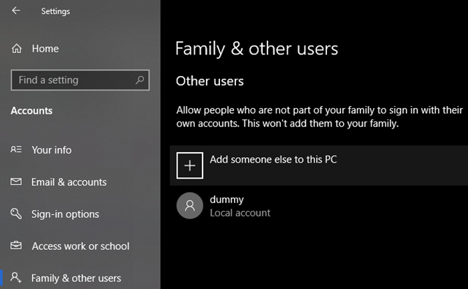 Windows 10 Add New User