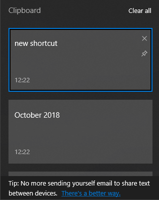 Windows 10 Clipboard History