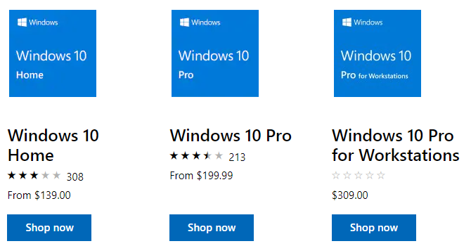 Windows 10 Licenses from Microsoft Store