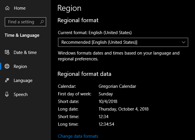 Windows Change Regional Format