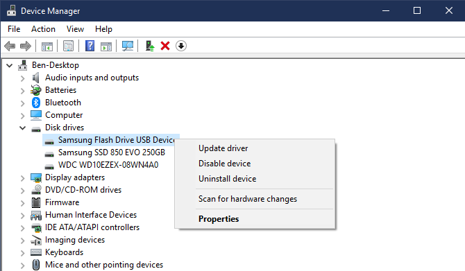 Windows Device Manager Disk Drives