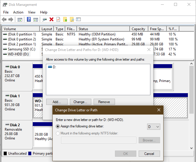 Windows Disk Management Assign Drive Letter