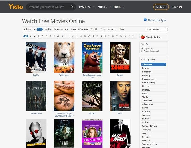I migliori siti di streaming video gratuiti - Yidio