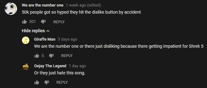 YouTube Dislike Comments