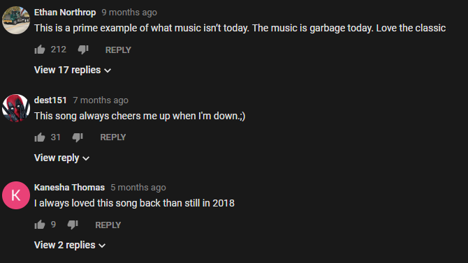 YouTube Modern Music Comment