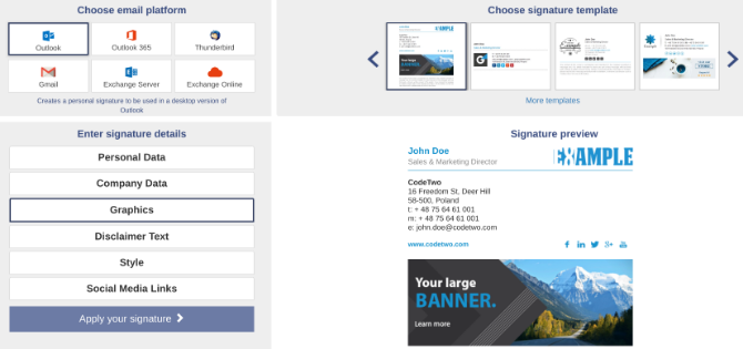 Create a free customizable email signature with Mail Signatures