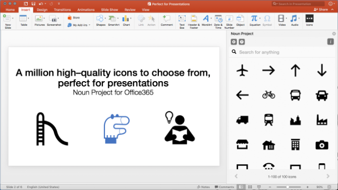 The Noun Project add-in for Powerpoint gives free icons and emojis