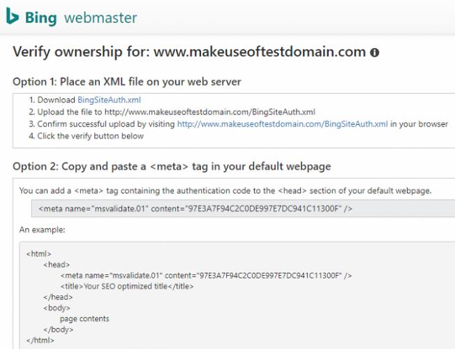 bing verify domain