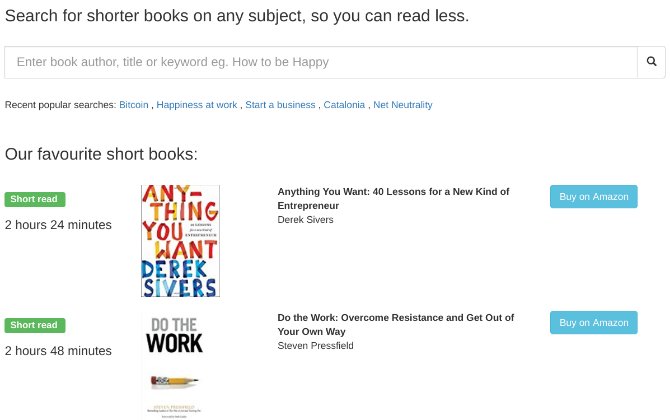 ShortBooks lists books based on length or reading time