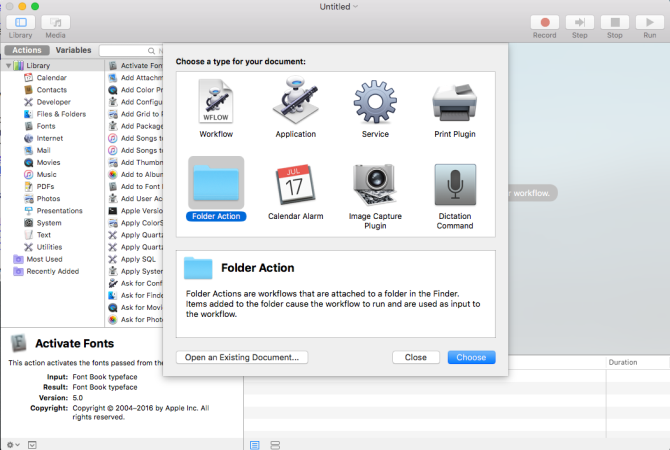 choose folder action in automator