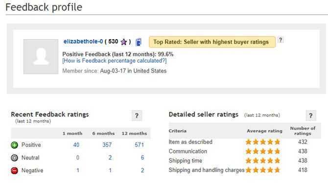 ebay seller ratings