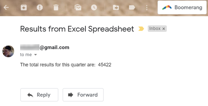 excel email received