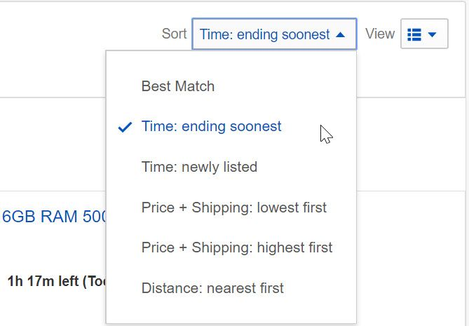 ebay items ending soonest