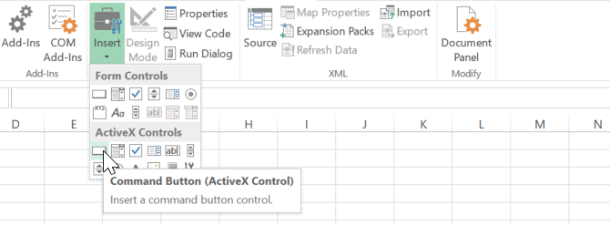 adding button in excel