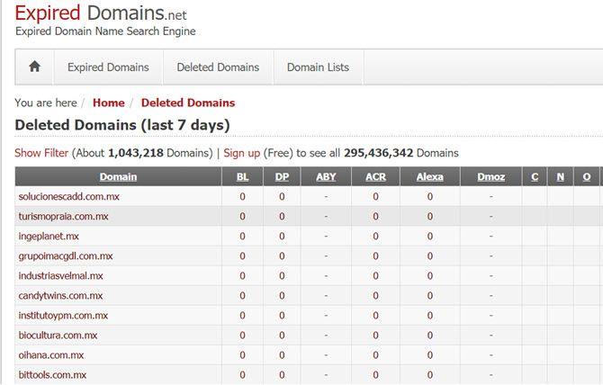 expireddomains deleted domains