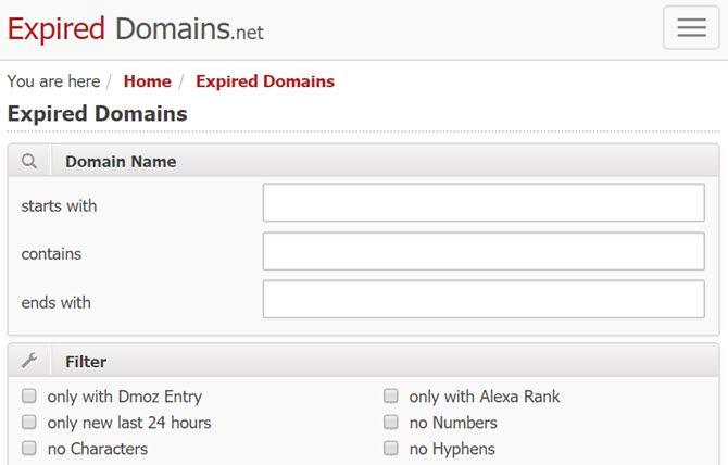 expireddomains domain search