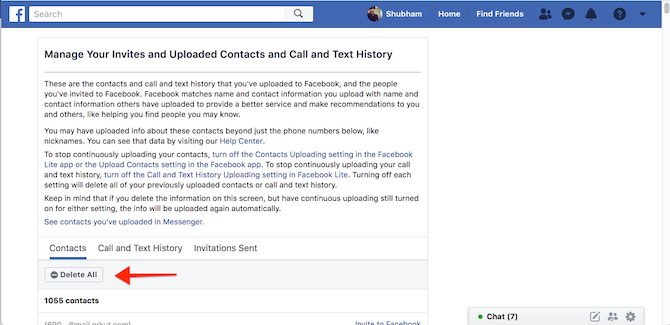 Facebook Delete Contacts, Call Logs
