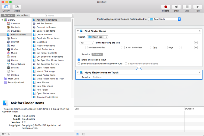 final setup of rule in automator