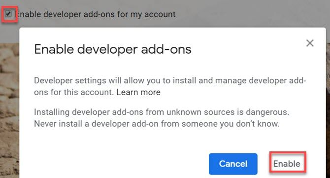 enable gmail developer add-ons